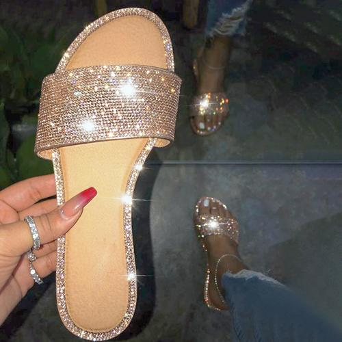 Rhinestone Slippers 2020 Women Fashion Wild Beach Flip Flop Bright Diamond Flat Bottom Outdoor Wild Student Sandal