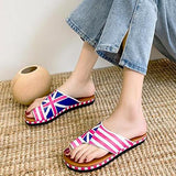 Summer Women Flat Colored Sunflower Slippers Casual Open Toe Beach Flip Flops Woman Plus Size 43 Platform Rome Shoes 2020