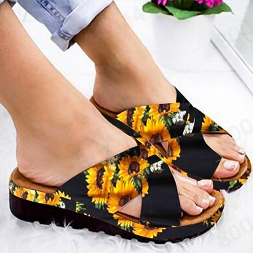 Women PU Shoes Comfy Platform Flat Sole Ladies Casual Sunflower Soft Big Toe Foot Correction Sandal
