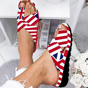 Women's Shoes 2020 Wedge Heel Summer Shoes UK flag Woman Flat Shoes Fluorescent Open-toed Women's Beach Shoes Roman Slippers