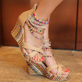 2020 Summer Bohemia Style High Heel Sandals w/ Colorful Beads(US4-10.5)