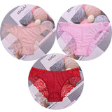 3PCS Sexy Women Intimates Pink Kawaii Casual Comfort Underwear Lace Sexy Seamless Safety Lingerie Solid Panties ropa interior