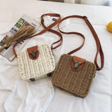 2020 Summer Straw Bag Candy Color Handmade Flap Cute Women Handbags Hasp Woven Messenger Bag Sweet Beach Rattan Bag