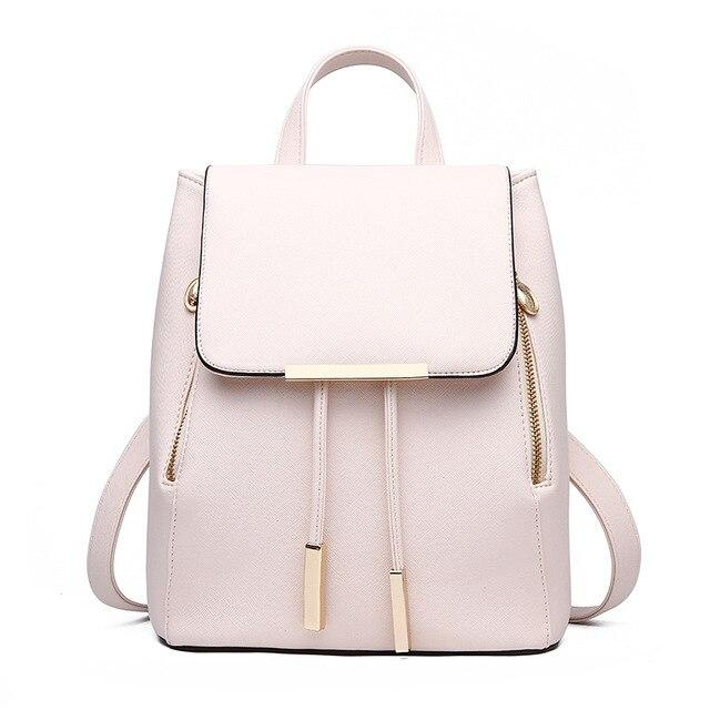 2020 New Women Backpack PU Leather College Casual Hasp Backpack Fashion Shoulder Book Bag For Teenager Girls Student