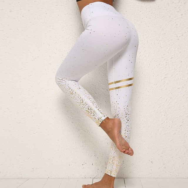 BEFORW Fashion New Hotsale Women Gold Print Leggings Transparent Exercise Fitness Leggings Push Up Workout Female Pants