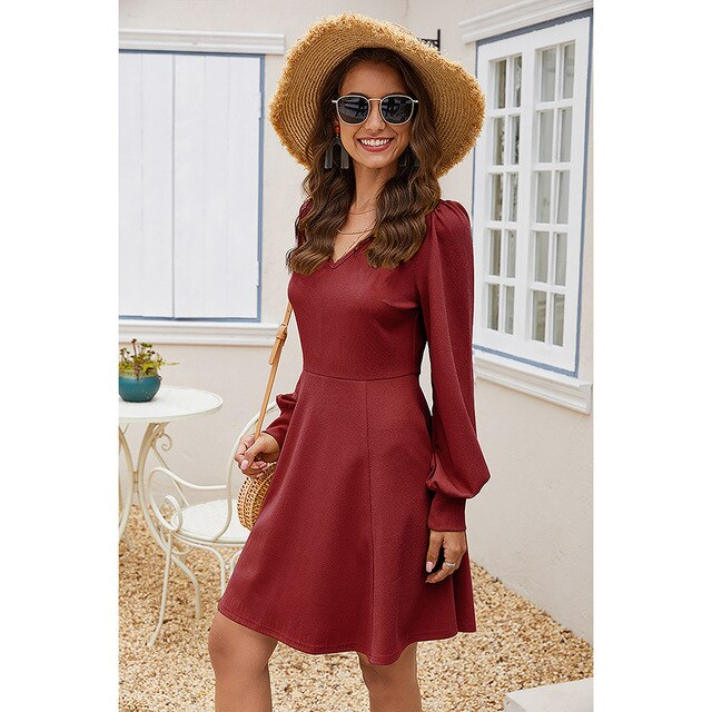 BORRUICE Autumn Dress Women 2020 Solid Color Vintage Elegant V Neck Puff Sleeve A Line Dress Slim Casual Office Dress