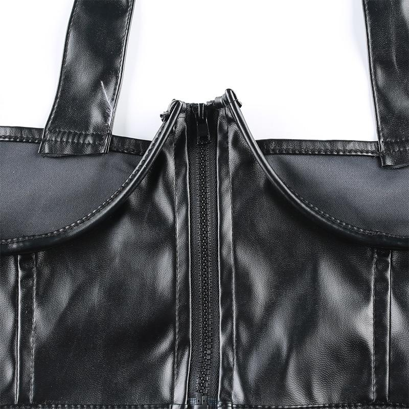 Punk PU Leather Buckle Zipper Tank Top
