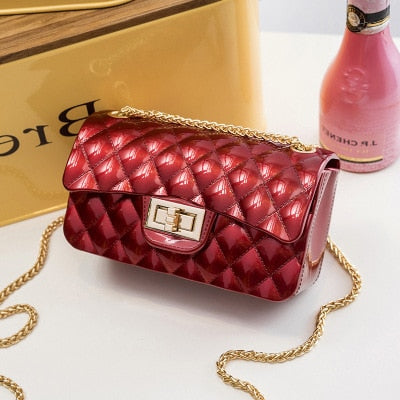 Women Bag 2020 Summer New Rhombic Chain Shoulder Bag Jelly Small Handbag Fragrance Wind Mini Shoulder Messenger Bag