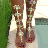 Boho-chic High Boots Sandals w/ Rhinestone (US4-12)