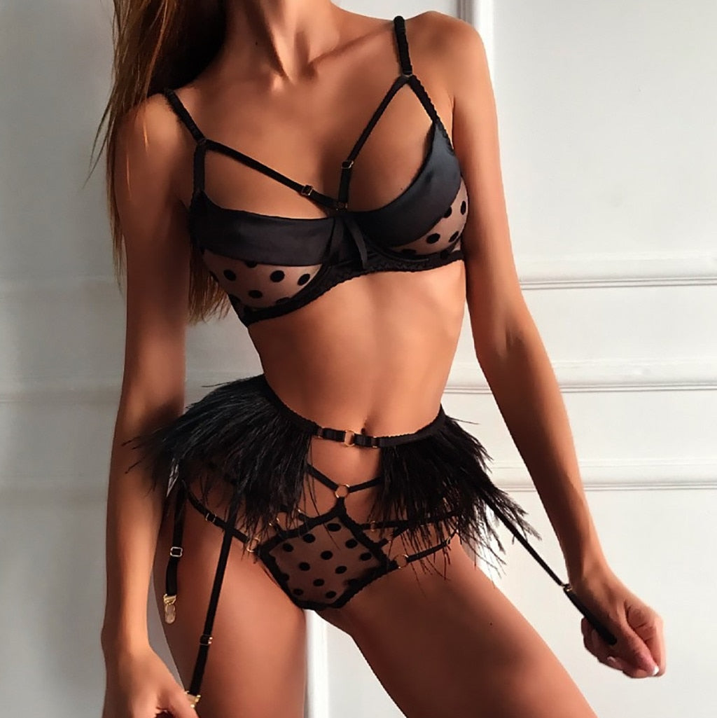 Women Sexy Lingerie Bra Set Cut-Out Briefs Sleepwear
