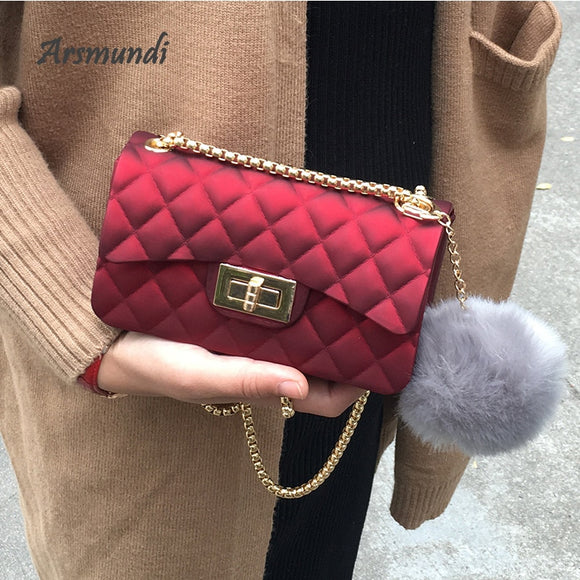Jelly bag 2020 Fashion Small Women Clutch Bags Designer Lingge Chain Crossbody Lady bags Candy Color Women Shoulder Bag