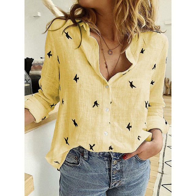 DeRuiLaDy Women Blouses 2020 Long Sleeve Animal Print Blouse  Casual Loose Office Shirt Plus Size Fashion Vintage Womens Shirts