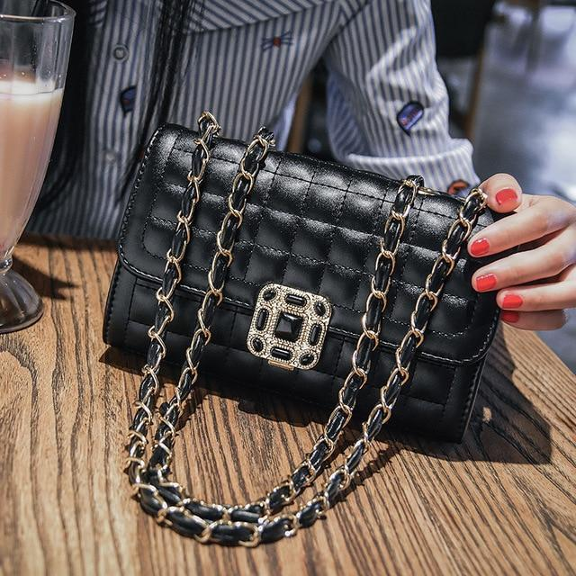 2020 New Small Bag Women New Fashion Messenger Bag Chain Shoulder Vintage Slung  Lady Handbags Small Square Diamond Lattice Bag