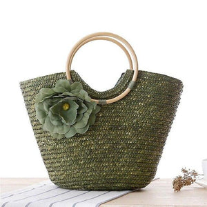 2020 New Style Casual Women's Rattan Handle Woven Solid Color Double Package Flower Hand Woven Straw Bag Beach Bag