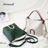 Women Bucket Bag 2020 New Design Handbags Fashion Hit Color Messenger Shoulder Bag PU Leather Crossbody Bag Bolsas
