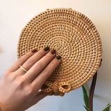 Summer Hand Woven Bag Round Vintage Straw Bag Butterfly buckle Bohemia Style Satchel Wind Beach Circle Shoulder Bag