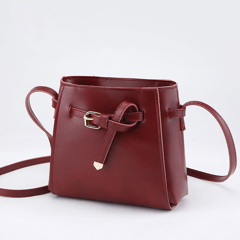 Fashion Women Shoulder Bag Leather Wild Small Bag Ladies Purse Crossbody Bag Belt Decorative Small Square Bag