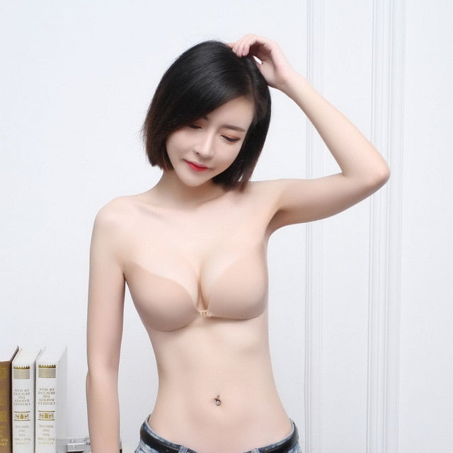 Sexy Lingerie Push Up Silicone Lifting Sticky Bra Self Adhesive Seamless Strapless Front Closure Gel Invisible Bras for Women