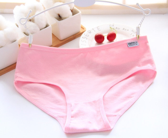 Comfort 95% Cotton Breathable Women Underwear Solid Color Simple Kawaii Girl Briefs Casual Plus Size Mid-Rise Sexy Panties