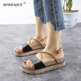Summer Sandals Beach Gladiator Thick Bottom Solid Women Shoes Casual Medium Loose Bottom Flat Roman Footwear Shoes