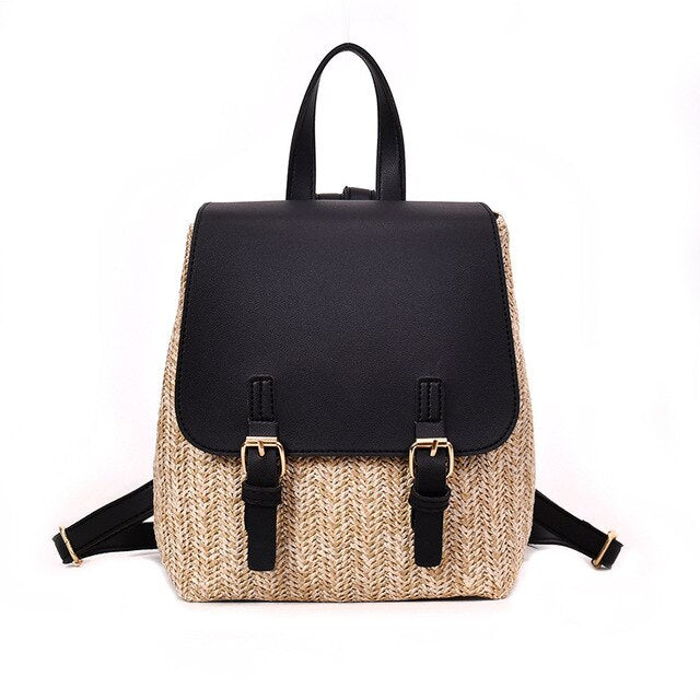 Arsmundi  Fashion Straw Woven Backpack Women Back Pack Summer Teenage Girl Quality Backpacks Travel Bags Girls Mini Backpack