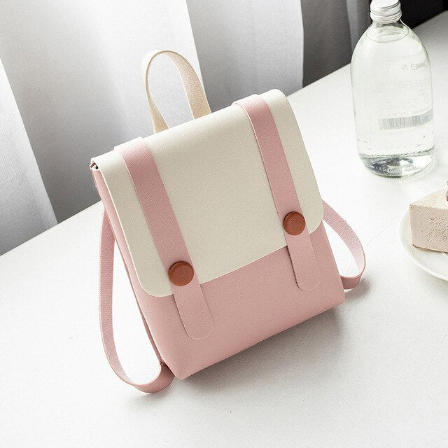 Fashion Small Backpack For Women Leather Shoulder Bag Korean Style Female Mobile Phone Backpack Wind Casual Student Backpack