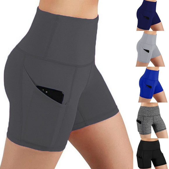 Women's Yoga Shorts Solid Pockets Tight Athletic Trouser