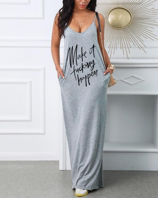 Fashion Casual Sleeveless Letter Printed Oversized Dress(S-4XL)