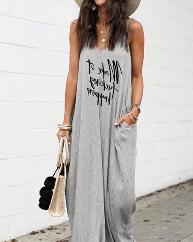 Fashion Casual Sleeveless Letter Printed Oversized Dress(S-4XL) - Asia-Peak