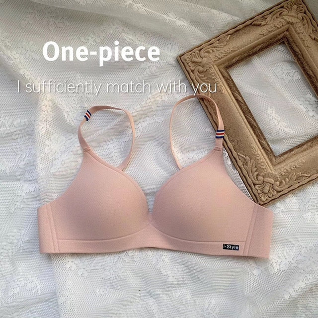 DERUILADY Simple Solid Color Seamless Bra Underwear Thin Fashion Wireless Bras For Women Sexy Lingerie Push Up Bralette Top