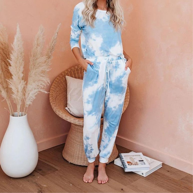 2020  Winter two piece set women Loose casual clothes Long sleeve trousers 2 piece sets womens Fashion tie-dye pullover pajamas