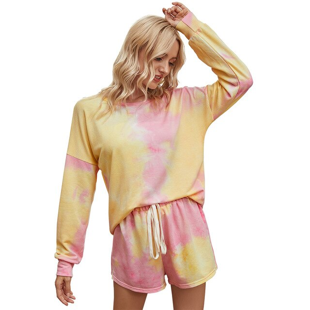 Fall Winter two piece set women Loose sportswear Long sleeve shorts 2 piece sets womens tie-dye pullover pajamas Two-piece suit