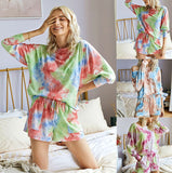 Pajamas Fashion Print Casual Top Shorts Two-Piece Suit Tie Dye Set Women Clothes Loose Autumn Women's Sets спортивныйкостюмженск
