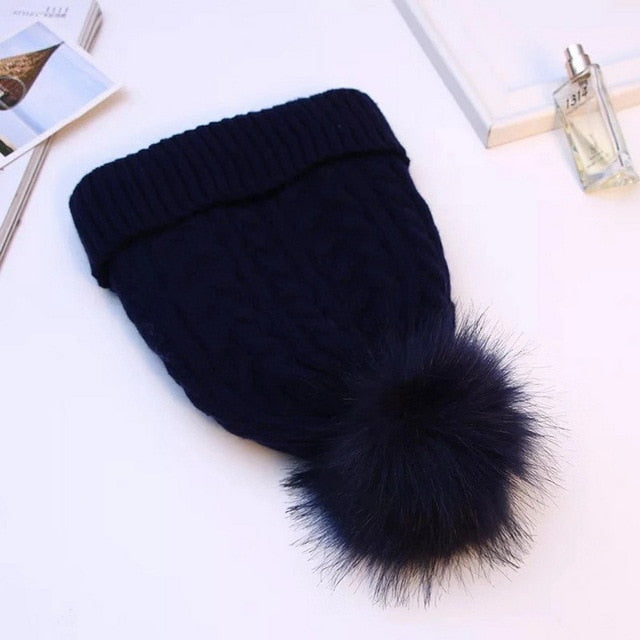 Hat Women's Winter Soft Thick Fleece Lined Dual Layer Knitted Beanie With Faux Fur Pom Pom Hats Keep Warm Outdoor Sports Hat