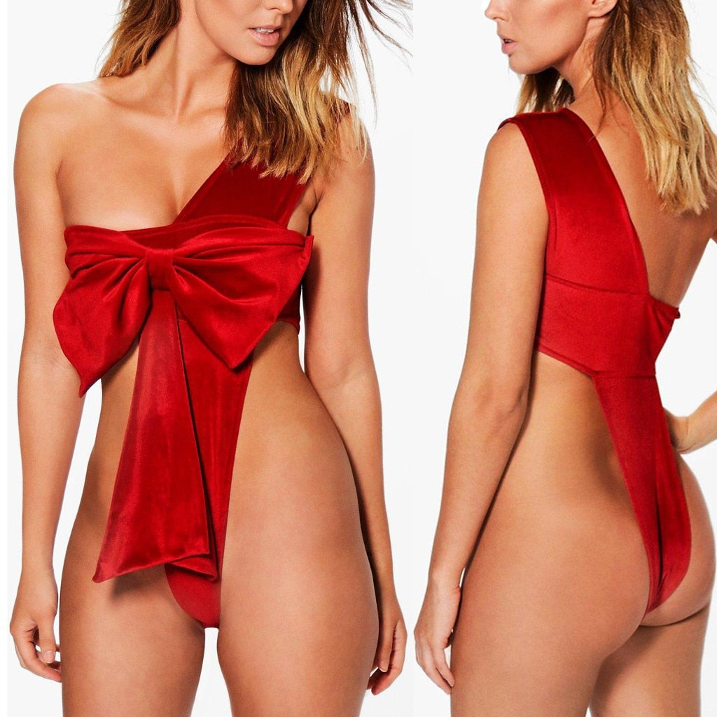 2020 New Sexy Women Red Lingerie Christmas Festival Bowknot Backless Bodysuit