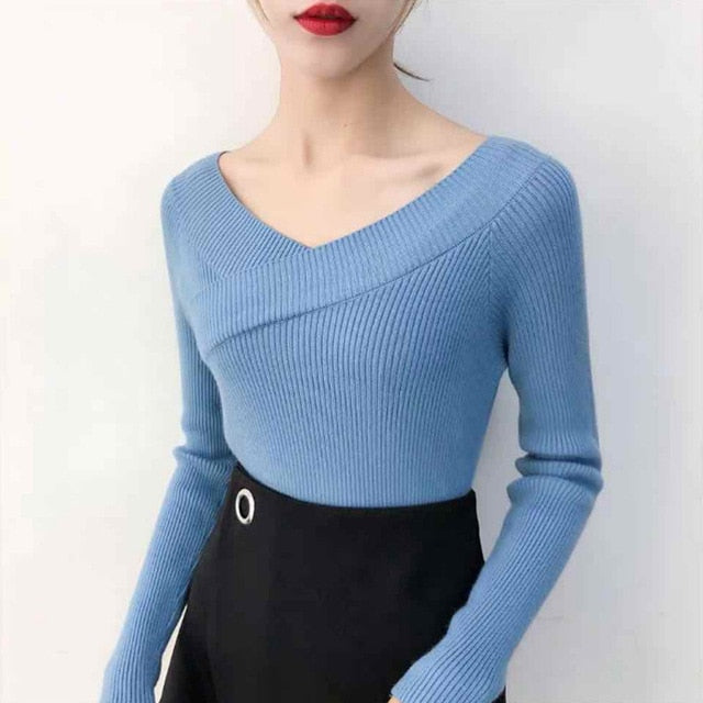 2020 Woman Sweaters Sexy Slash Neck Knitted Bottoming Shirt Fall Winter Long Sleeved Pullover Sweater Korean Women Clothing