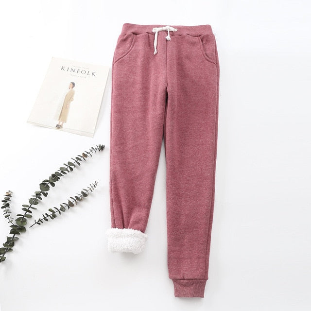 Fall Winter Fleece Sweatpants Women Trousers Casual Thick Velvet Loose Cashmere Tracksuit Woman Pants Cotton Keep Warm