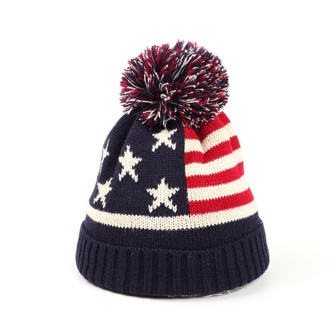 2020 New Women Knitting Winter Warm Beanie Hats  Womens Star Baggy Stretchy Pompom Beanies Hat Star Print Stripes Bonnets