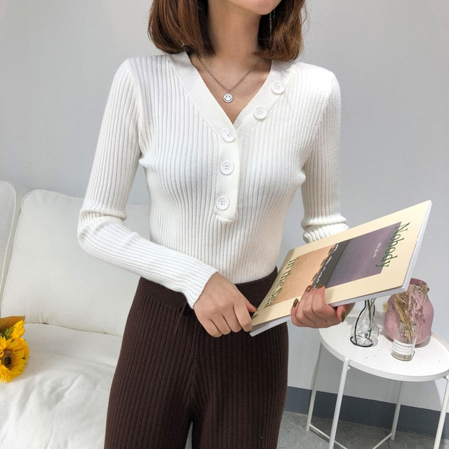 Women Sweater Fall Winter Clothes Long Sleeved V Neck Buttons Solid Knitted Pullover Korean Women Slim  Sweater Pink Top