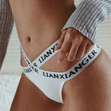 DERUILADY Fashion Pink Letter Seamless Panties Women g String Cotton Sport Fitness underwear Sexy Cross Low Waist Thong Lingerie