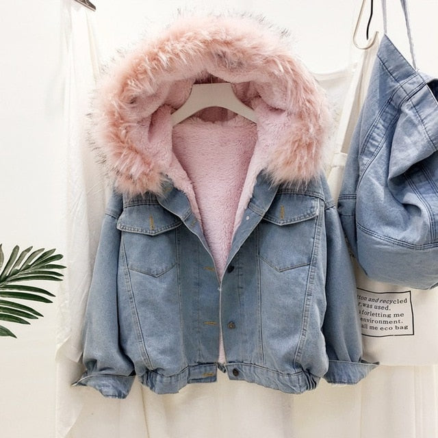 BEFORW  Women Warm Denim Jacket With Fur Collar Jean Coat Jacket Slim Hooded Coat Autumn Winter Thick Jacket 2020 bomber Jacket