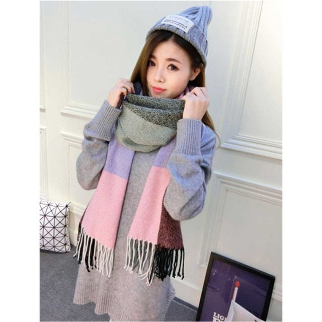 2019 Autumn Winter Female Wool Plaid Scarf Women Cashmere Scarves Wide Lattice Long Shawl Wrap Blanket Warm Tippet Drop Ship