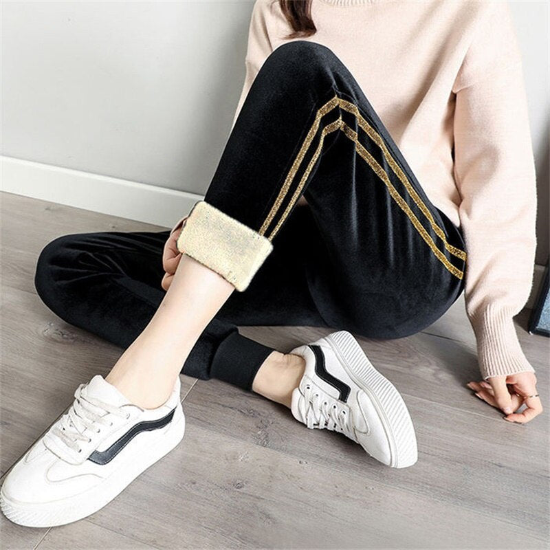 Fall Winter Pants Joggers Sweatpants Women Casual Thickened Lamb Wool Warm Trousers High Waist Side Stripes Woman Pants