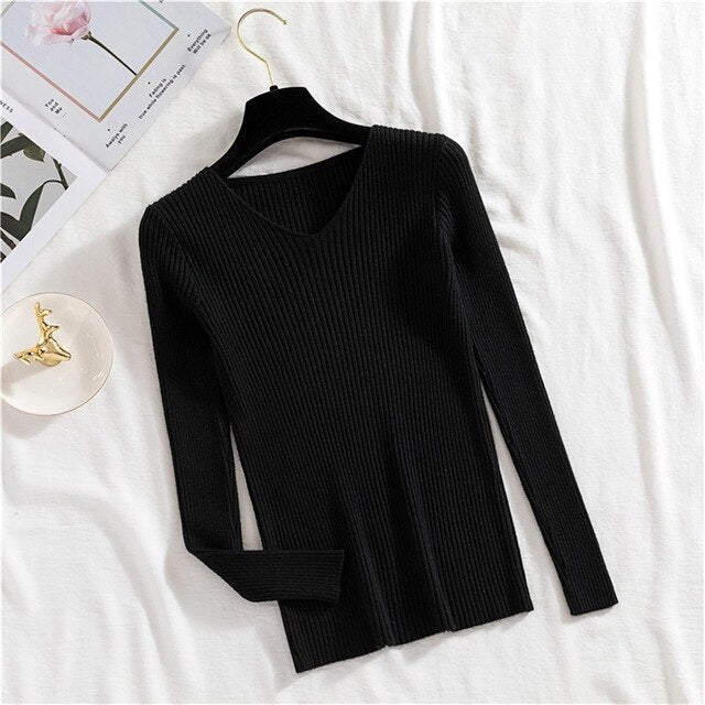 Sweater Women Winter Warm Knitted Clothes Pullover Pink Sweater Vintage Korean Basic Bottoming Shirt Woman Sweaters V-neck Top