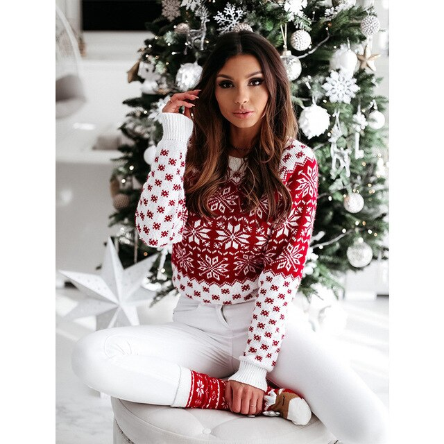 Women's Sweaters Winter Keep Warm Round Neck Rave party Snowflake Christmas Sweater Long sleeve Knitted Pullover Woman Sweaters