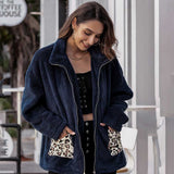 Fashion women Plush Overcoat Polyester Suit Collar Warm Long-sleeve Thicken Jacket For Women Winter Fur Leopard Pocket 2020