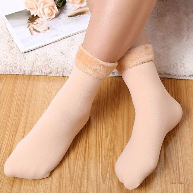 Winter Warmer Women Socks Wool Cashmere Thicken Thermal Snow  Boots Socks Velvet Solid Color Floor Flanging Socks for Mens