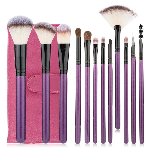 12 Pcs Professional Makeup Brush Set Tools Powder Foundation Eyeshadow Lip Eyeliner Blush Face Makeup Brushes