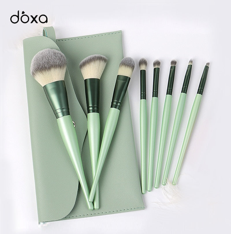 doxa 8pcs Makeup Brush Sets Soft Blush Loose Powder Brush Highlight Eye Shadow Brush INS With Bag Portable Beauty Tools