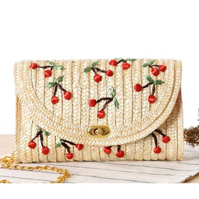 Luxury Handbags Women Bags Designer Three-dimensional Hand Embroidered Cherry Straw Bag Weaving Rattan Summer Beach Bag